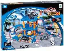 Полицейски паркинг с площадка за кацане - Комплект за игра с количка и хеликоптер -