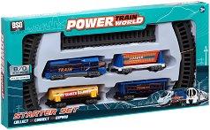 Влак - Power train world - Комплект за игра със светлинни ефекти - раница