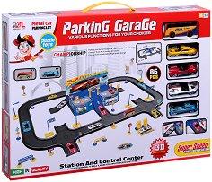 Паркинг - Комплект за игра с 5 метални колички -
