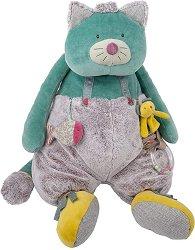"""Коте - Плюшена играчка с дрънкалка за бебе от серията """"Les Pachats"""" -"""