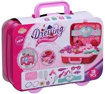 Студио за красота - Детски комплект за игра в куфарче с колелца -