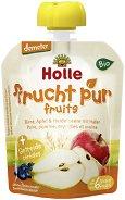 Holle - Забавна плодова закуска с круши, ябълки, боровинки и овес - Опаковка от 90 g за бебета над 6 месеца - пюре