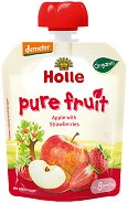 Holle - Био забавна плодова закуска с ябълки и ягоди - Опаковка от 100 g за бебета над 8 месеца -