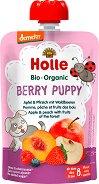 Holle - Забавна плодова закуска с ябълки, праскови и горски плодове - Опаковка от 90 g за бебета над 8 месеца -