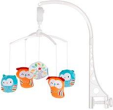 Музикална въртележка - Къщичка за бухалчета - Играчка за бебешко креватче -