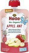 Holle - Забавна плодова закуска с ябълка, банан и круша - Опаковка от 90 g за бебета над 6 месеца - пюре