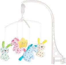 Музикална въртележка - Кончета и зайчета - Играчка за бебешко креватче -