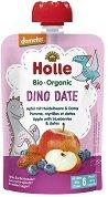 Holle - Забавна плодова закуска с ябълка, боровинки и фурми - Опаковка от 90 g за бебета над 6 месеца - пюре
