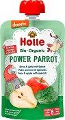 Holle - Забавна плодово-зеленчукова закуска с круша, ябълка и спанак - Опаковка от 90 g за бебета над 6 месеца - пюре