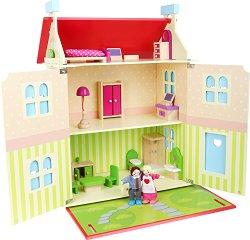 Обзаведена къща за кукли - Дървен комплект за игра -