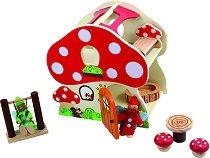 Елфска къща - Гъбка - Детски дървен комплект за игра с кукли и аксесоари -