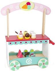 Щанд за сладолед на колелца - Детски дървен комплект за игра с аксесоари - играчка