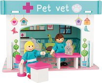 Ветеринарна клиника - Детски дървен комплект за игра с 2 кукли и аксесоари -