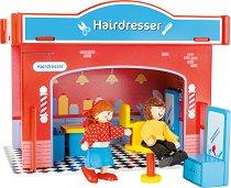 Фризьорски салон - Детски дървен комплект за игра с 2 кукли и аксесоари -
