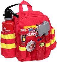 Пожарникарски принадлежности в раничка - Детски комплект за игра -