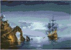 Кораб край скалите - Комплект за декориране с камъчета с размери 30 x 40 cm
