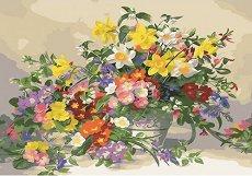 Нежни цветя - Комплект за декориране с камъчета с размери 30 x 40 cm