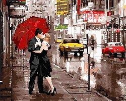 Рисуване по номера - Влюбени в Ню Йорк - Комплект за картина с размери 50 x 40 cm