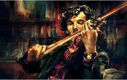 Рисуване по номера - Цигулката на Шерлок - Комплект за картина с размери 50 x 40 cm