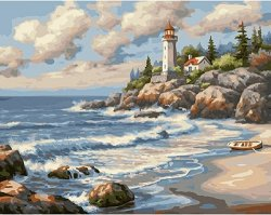 Рисуване по номера - Морският фар на скалите - Комплект за картина с размери 50 x 40 cm