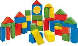Детски дървен конструктор - Комплект от 50 части в кутия с капак за сортиране - играчка