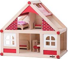 Дървена къща за кукли - Комплект за игра с 2 кукли и обзавеждане - играчка