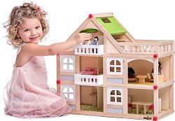 Дървена триетажна къща с тераси за кукли - Комплект с 4 кукли и обзавеждане -