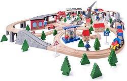 Дървен влак с релси - Индустриална зона - Комплект за игра с превозни средства и 2 крана -