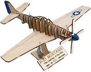 """Американски изтребител - Mustang P-51 - 3D дървен пъзел от серията """"Art & Wood"""" -"""