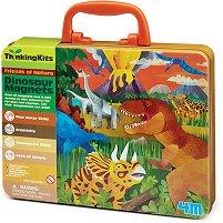 """Разиграй сцени с магнити - Динозаври - Комплект в куфарче от серията """"Thinking Kits"""" -"""