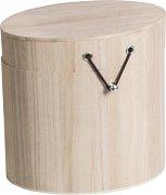 Дървена овална кутия - Предмет за декориране с размери 10 / 15 / 15 cm