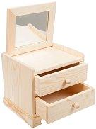 Дървено шкафче с огледало и 2 чекмеджета - Предмет за декориране с размери 13 / 13.5 / 15 cm