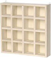 Дървена етажерка с 16 отделения - Предмет за декориране с размери 22 / 22 / 4.5 cm