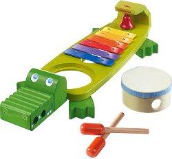 Комплект музикални инструменти 4 в 1 - Крокодил - Дървени играчки -