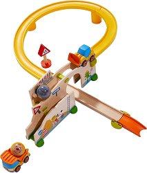 Сглобяема писта - Строителен обект - Детска дървена играчка с топчета -