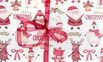 Поздравителна картичка - Дядо Коледа с еленче, пингвинче и мече -