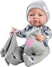 Бебе - 45 cm - Комплект с плюшено мече и кърпа - играчка