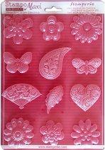 3D Форма - Цветя, сърца и пеперуди - Размери 21 x 29.7 cm