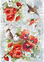 Декупажна хартия - Макове и птици - Формат А4