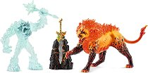 """Леденото чудовище срещу огнения лъв - Комплект фигури от серията """"Митични създания"""" -"""