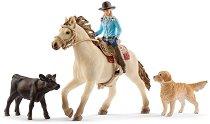"""Жена каубой на кон и домашни животни - Комплект фигури и аксесоари от серията """"Фермата"""" - фигура"""