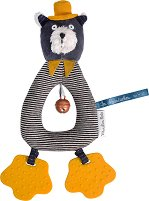 """Дрънкалка - Коте Alphonse - Мека бебешка играчка с дъвкалки от серията """"Les Moustaches"""" -"""