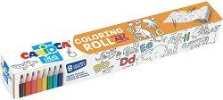 Самозалепваща се ролка за оцветяване - ABC - Комплект с 8 цветни молива -
