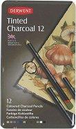 Въгленови моливи - Комплект от 12 цвята в метална кутия