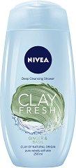Nivea Clay Fresh Ginger & Basil Deep Cleansing Shower - Дълбоко почистващ душ гел с глина и аромат на джинджифил и босилек - шампоан