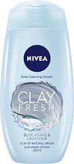 Nivea Clay Fresh Blue Agave & Lavender Deep Cleansing Shower - Дълбоко почистващ душ гел с глина и аромат на синьо агаве и лавандула - душ гел