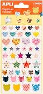 Самозалепващи стикери - Сърца, звезди и мечета - Комплект от 45 броя
