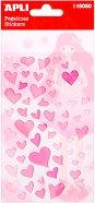 Самозалепващи стикери - Сърца - Комплект от 56 броя
