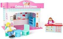 Сладкарница - Детски дървен комплект за игра с 2 кукли и аксесоари -