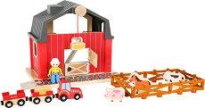 Ферма - Детски дървен комплект за игра с фигурки и аксесоари - играчка